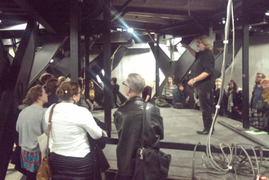 Students explore below the stage at the Schaubühne