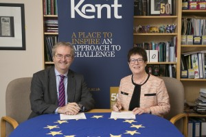 Jonathan Taylor, European Investment Bank with Kent Vice-Chancellor, Professor Dame Julia Goodfellow