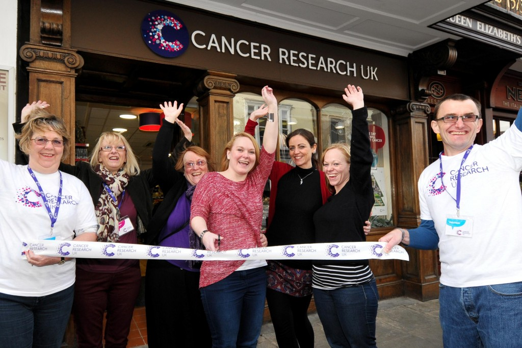 Cancer Research UK. New shop opening in Canterbury.